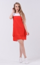 Airy two-tone dress (red-white)