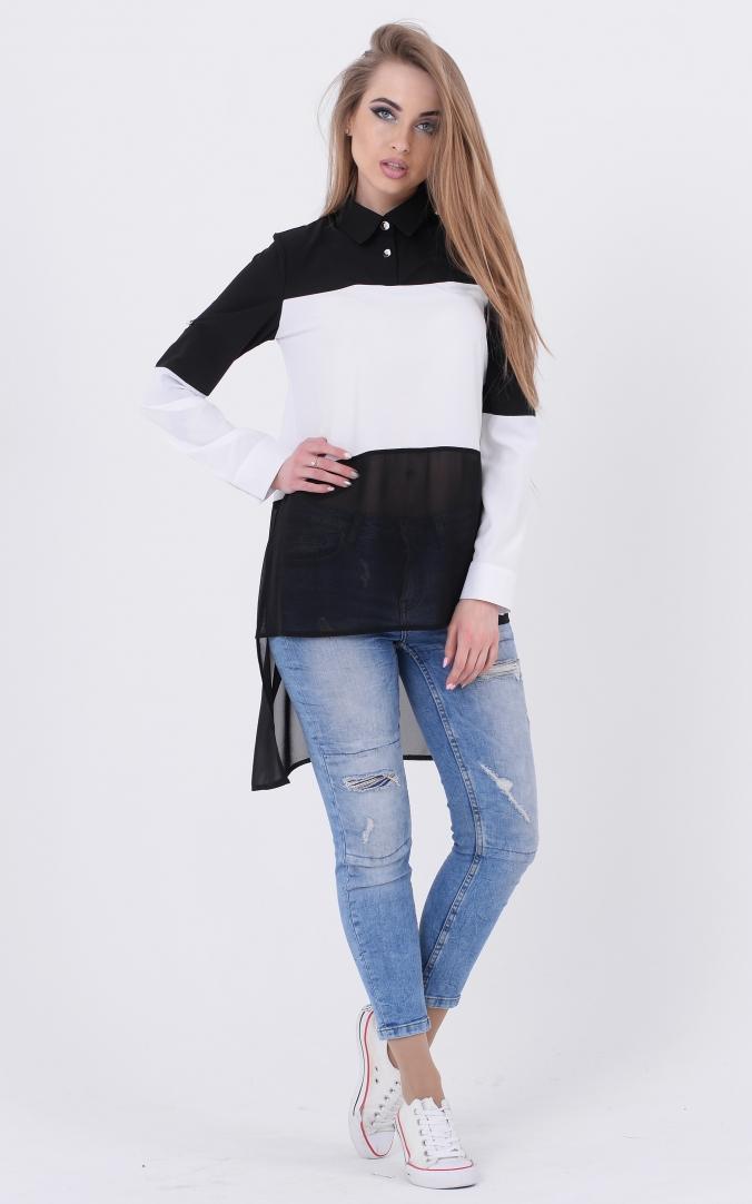 Подовжена комбінована блузка (чорний)