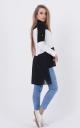 Long combined blouse (black)