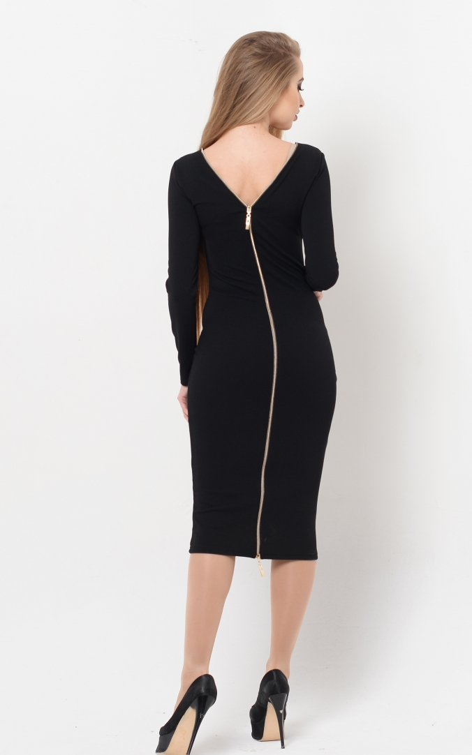 Clinging dress with double-sided zipper
