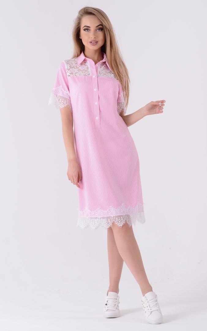 Trendy Polo Shirt Dress (pink)