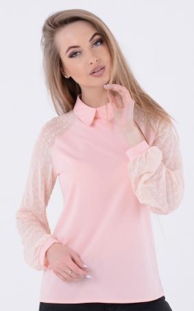 Модная блузка горох (рожева)