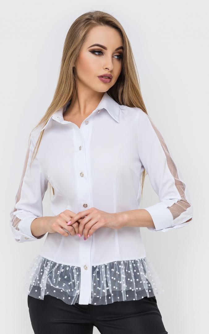 Біла сорочка горох
