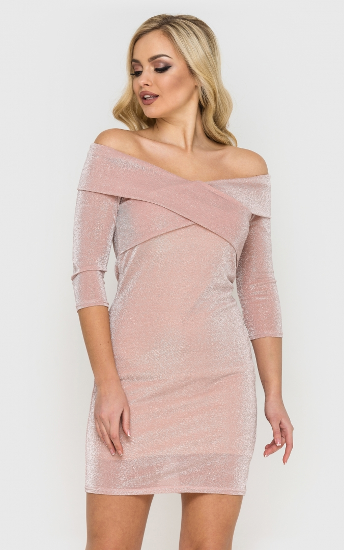 Luxurious short mini dress (pink)