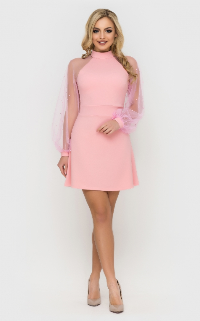 Evening short dress (pink)