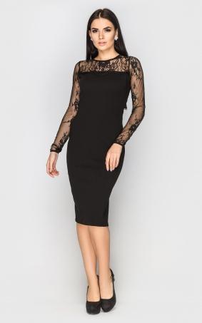 Вечернее платье-миди (черное)
