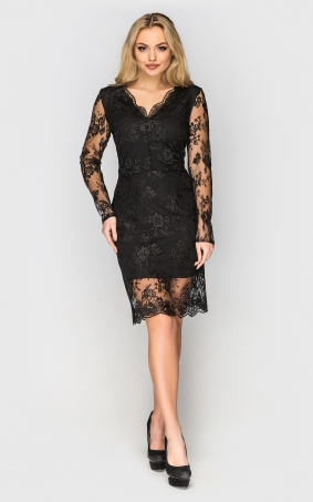 Charming guipure dress (black)