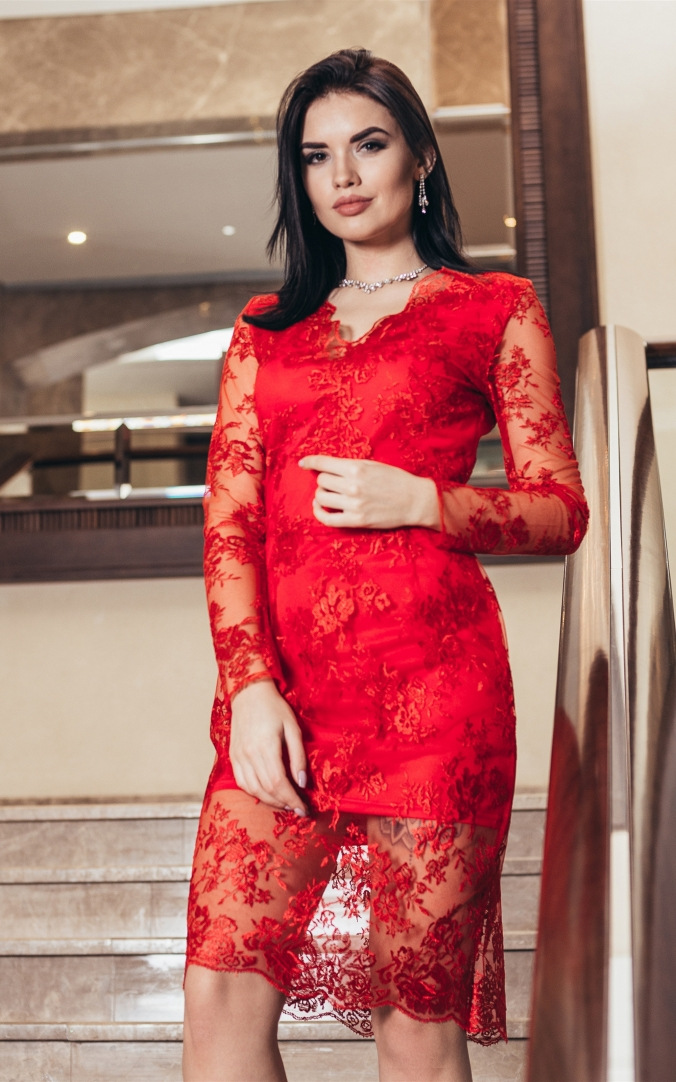 Charming guipure dress (red)