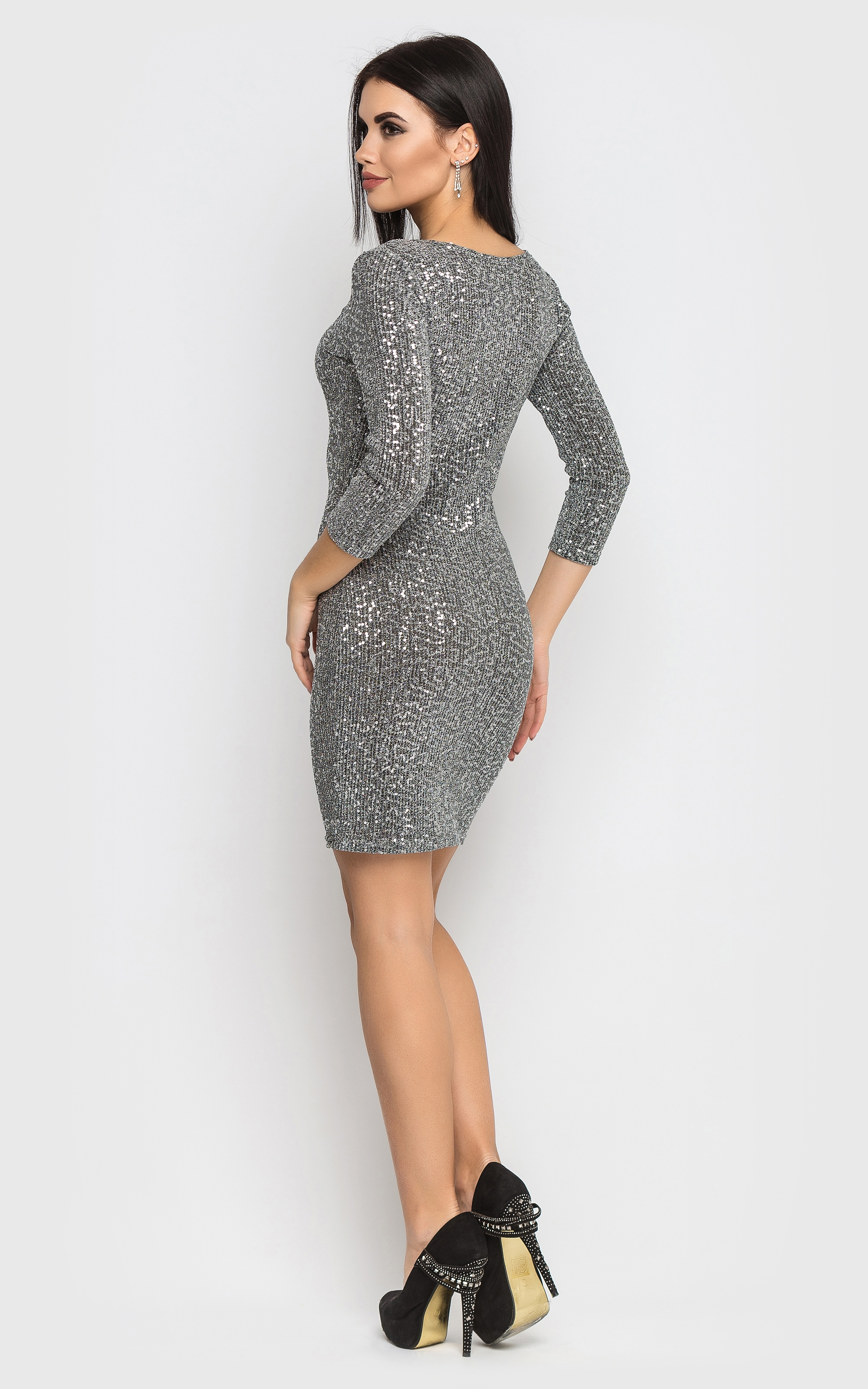 480ff136f18 Elegant mini dress (gray)