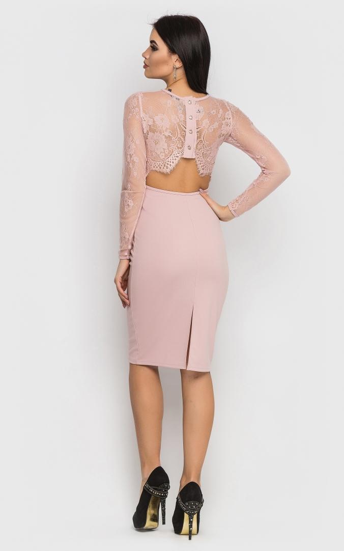 Midi evening dress (pink)