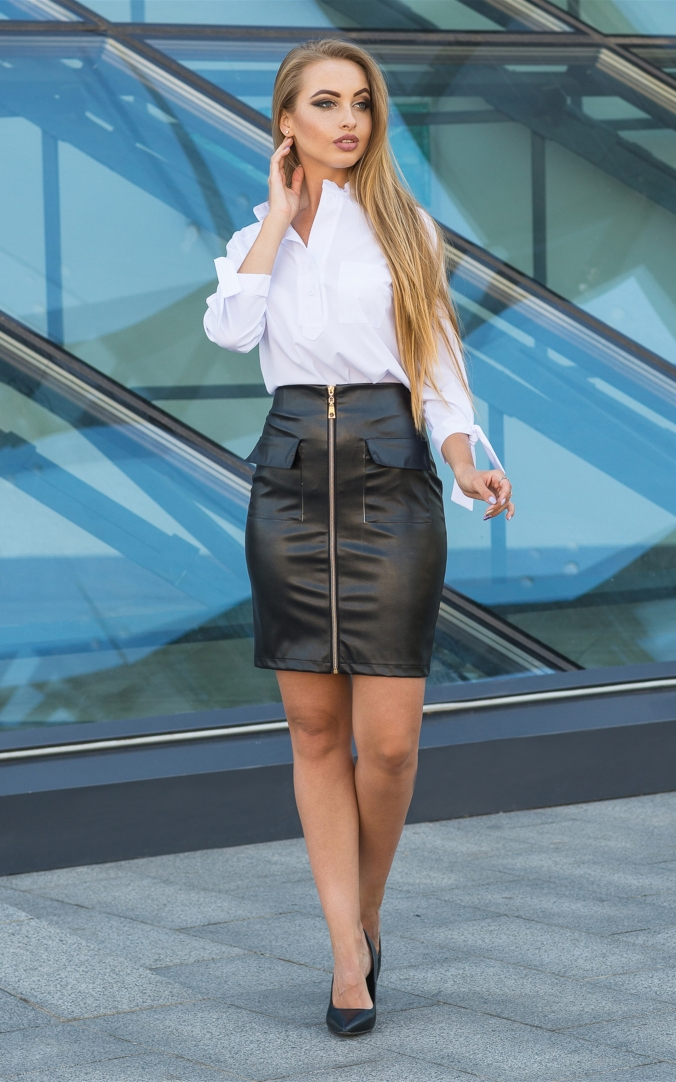 Trendy leather skirt