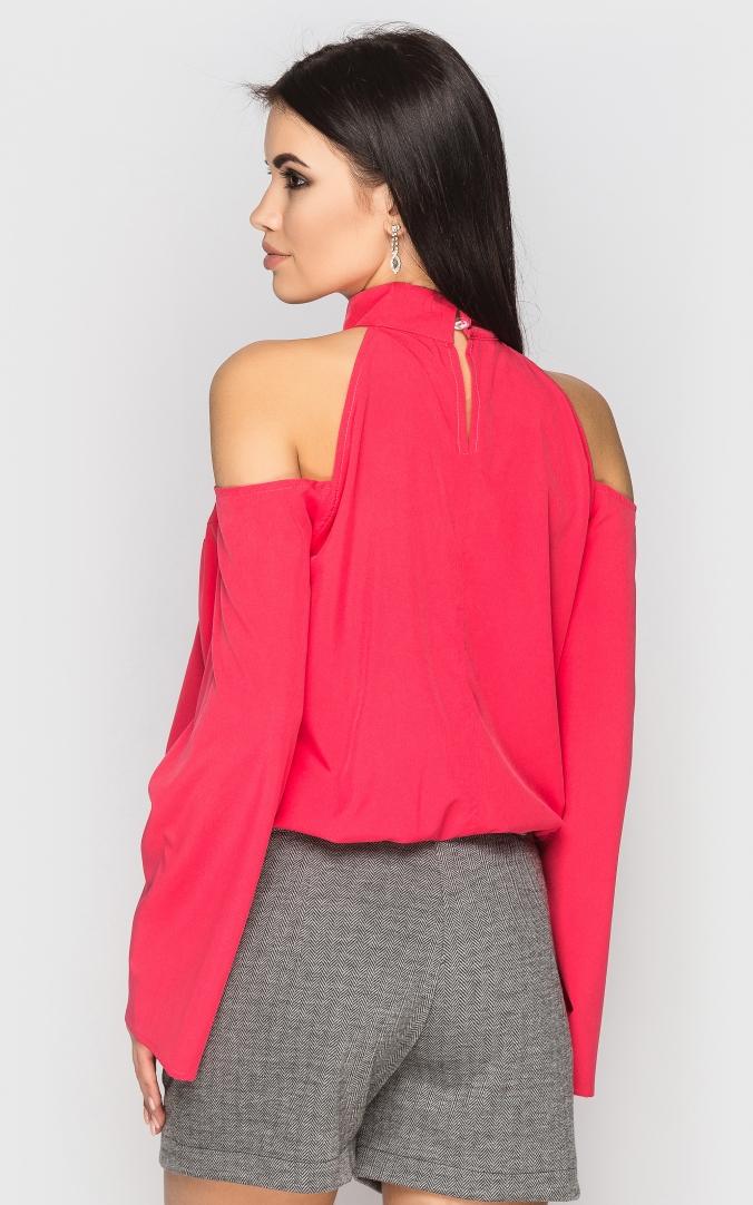 Блуза з відкритими плечима (коралова)