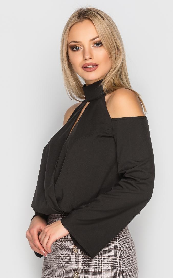 Блуза з відкритими плечима (чорна)