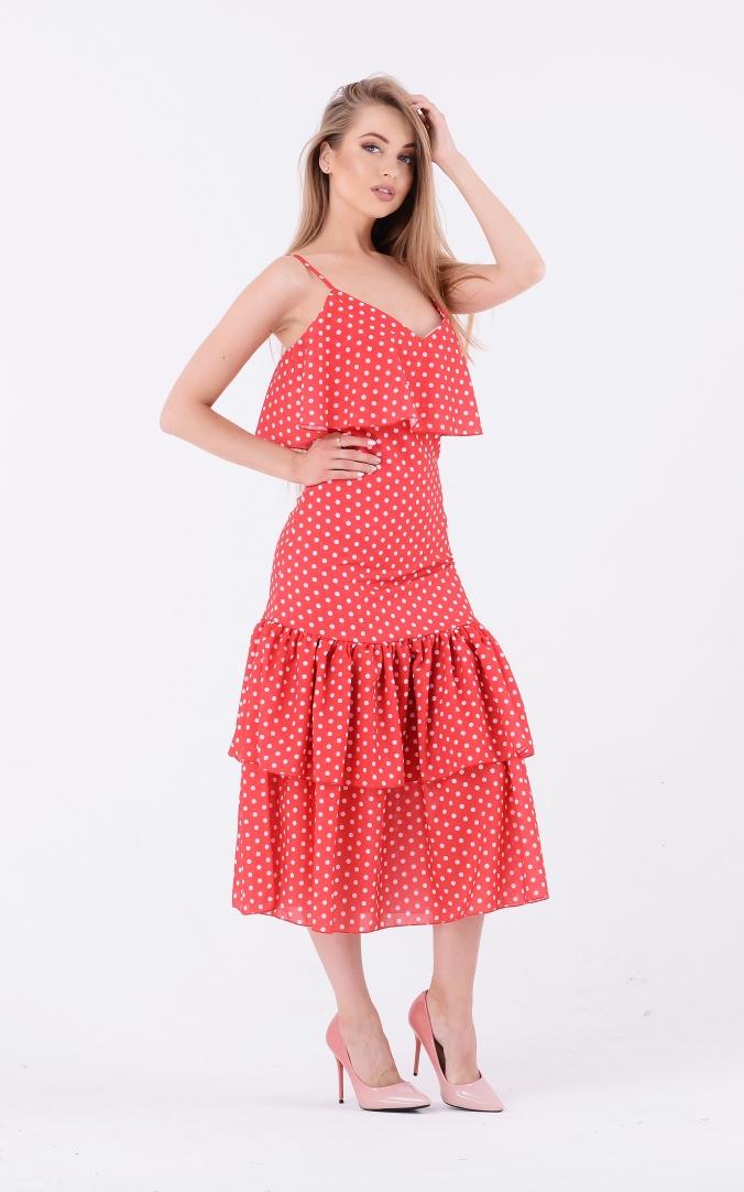 Платье-миди горох