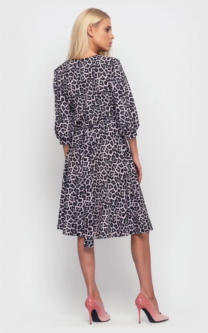 Платье с принтом на запах (серое)