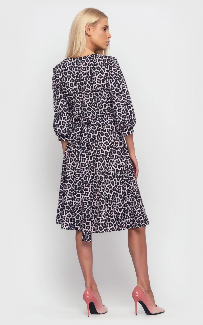 Wrapped dress with a print (gray)