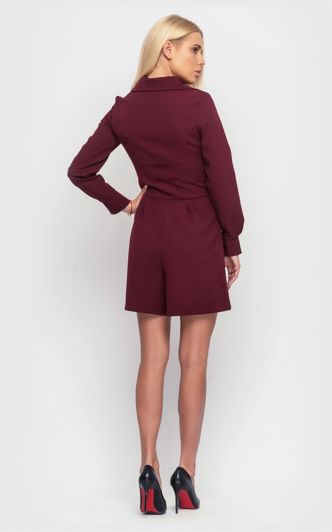 Jumpsuit with long sleeves (burgundy)