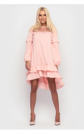 Asymmetrical dress with frill at the bottom (peach)