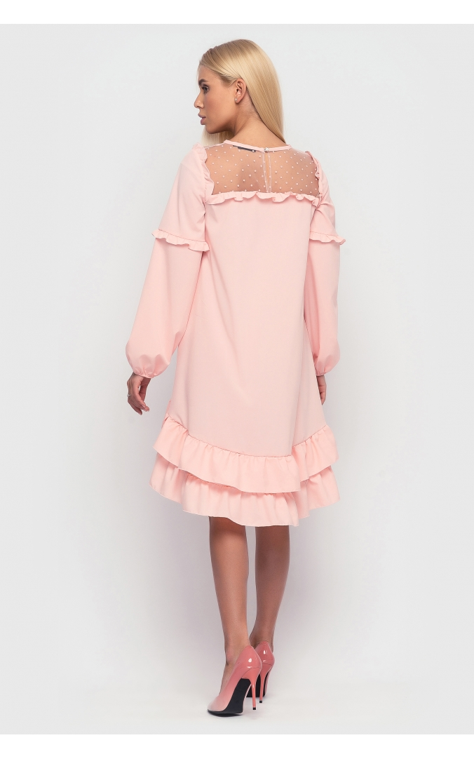 Асимметричное платье с оборкой внизу (персиковое)
