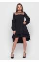 Асимметричное платье с оборкой внизу (черное)