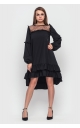 Asymmetrical dress with frill at the bottom (black)