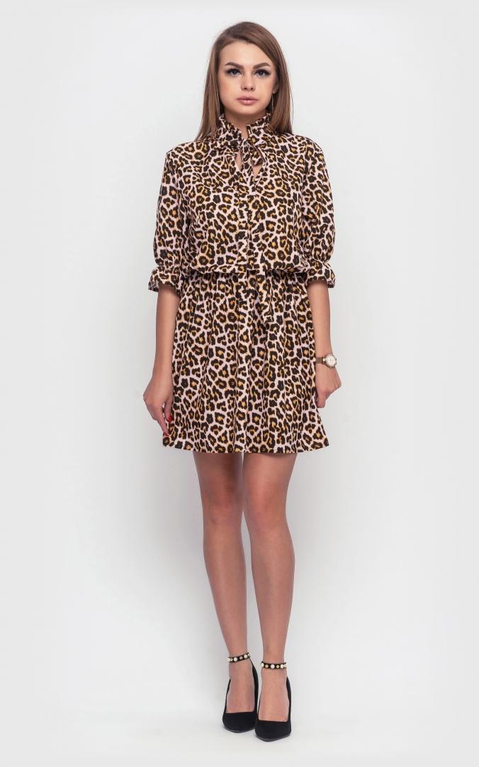 Leopard mini dress (brown)