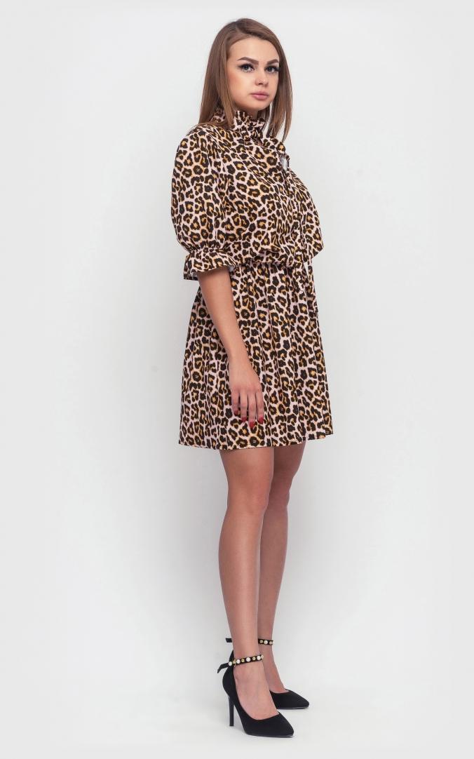 Леопардова сукня-міні (коричнева)
