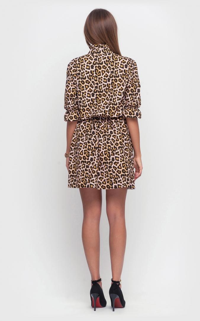 Леопардовое платье-мини (коричневое)
