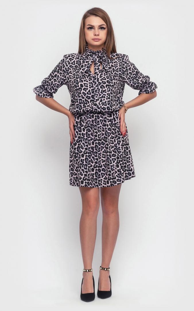 Леопардова сукня-міні (сіра)