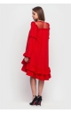 Asymmetrical dress with frill at the bottom (red)