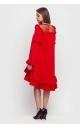 Платье асимметричное с оборкой внизу (красное)