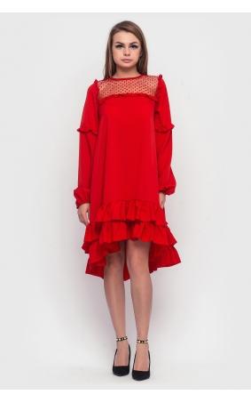 Асиметрична сукня з оборкою знизу (червона)