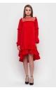 Асимметричное платье с оборкой внизу (красное)