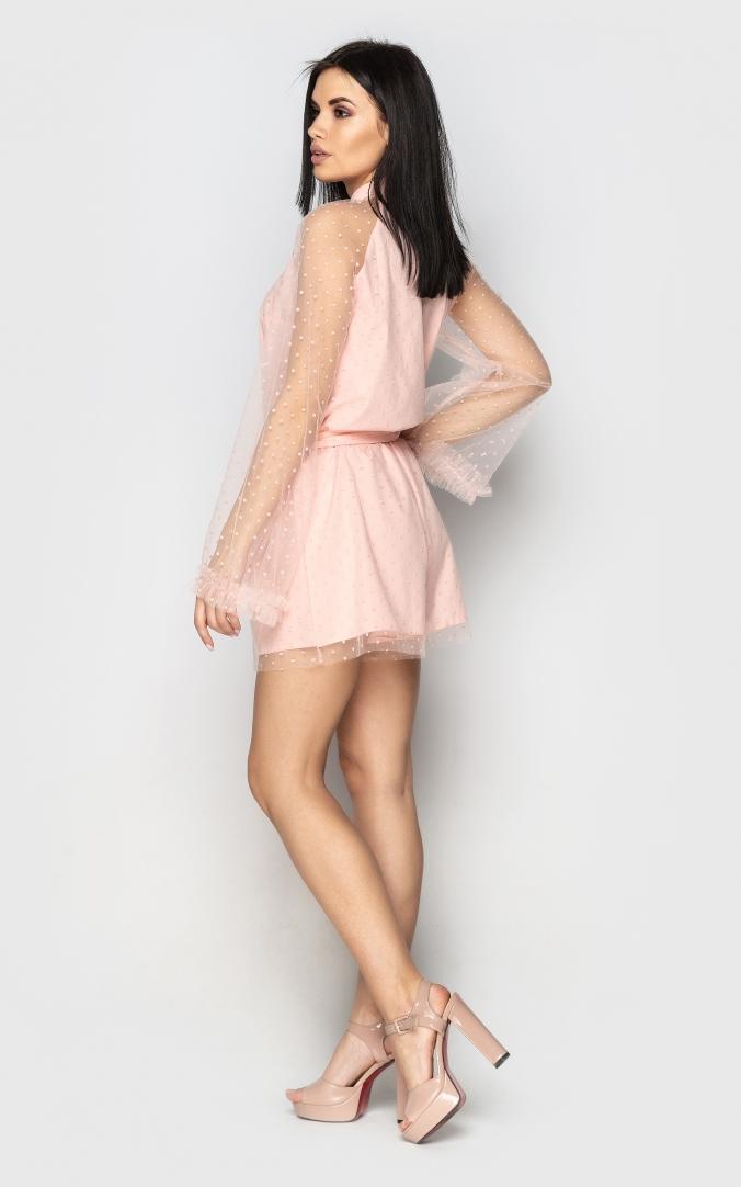 Flared long sleeve jumpsuit (peach)