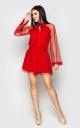 Комбинезон с длинным рукавом клеш (красный)