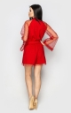 Flared long sleeve jumpsuit (red)