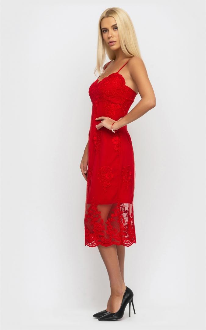 Витончена літня сукня (червона)