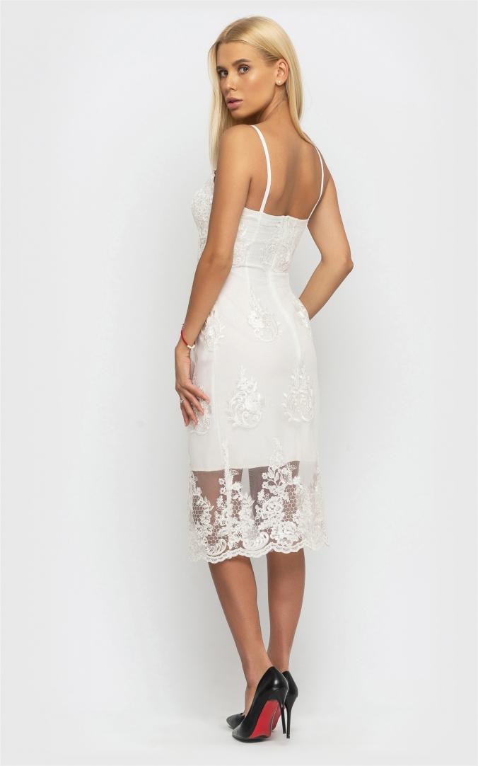 Утонченное летнее платье (белое)