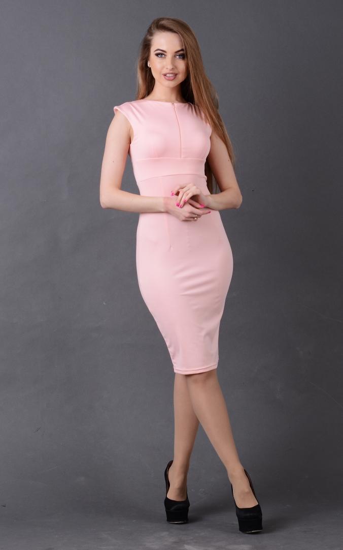 Лаконичное облегающее платье (розовое)