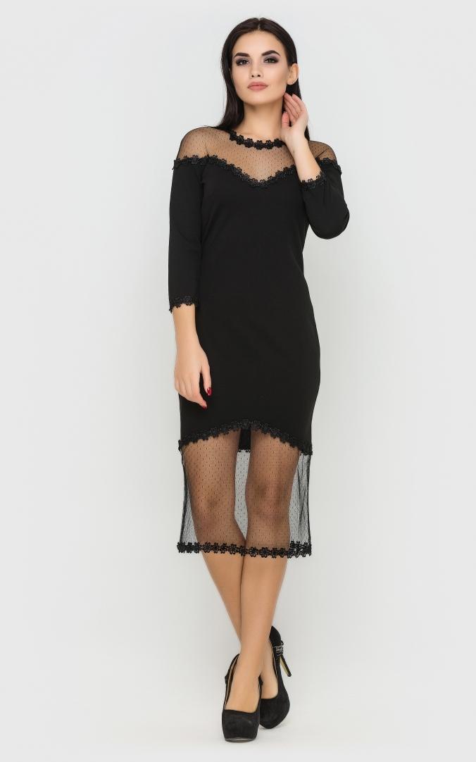 Изысканное платье-миди (черное)