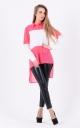 Удлиненная комбинированная блузка (розовая)