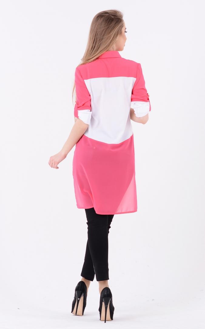 Подовжена комбінована блузка (рожева)