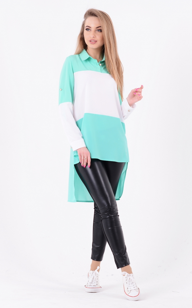 Long combined blouse (mint)