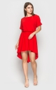 Асимметричное летнее платье (красное)