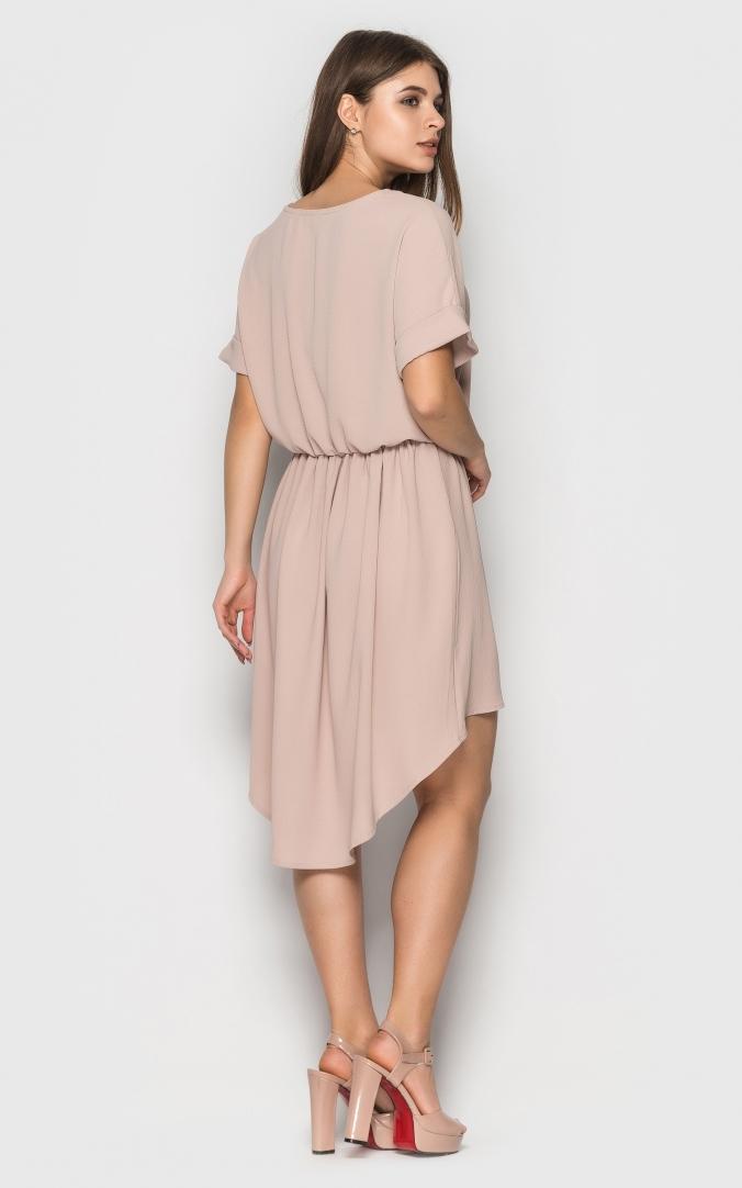 Асимметричное летнее платье (бежевое)