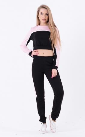 Двоколірний спортивний костюм (чорний-рожевий)