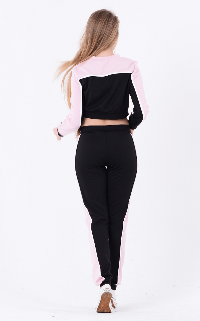 Two-tone sport suit (black-pink)