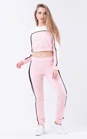 Two-tone sport suit (pink-white)