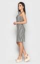 Трендовое приталенное платье-мини (черно-белое)
