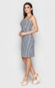 Трендовое приталенное платье-мини (сине-белое)